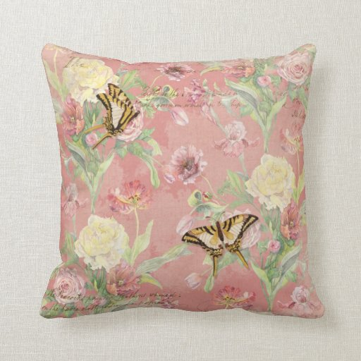 Les Fleurs Peony Rose Tulip Iris Floral Flowers Pillow