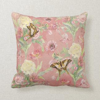 Les Fleurs Peony Rose Tulip Iris Floral Flowers Throw Pillow