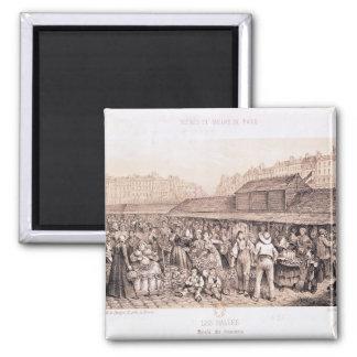 Les Halles, 1855 2 Inch Square Magnet