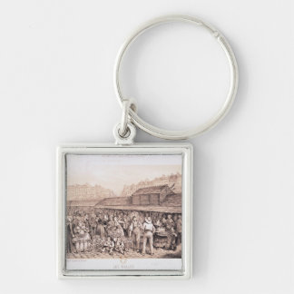 Les Halles, 1855 Silver-Colored Square Keychain