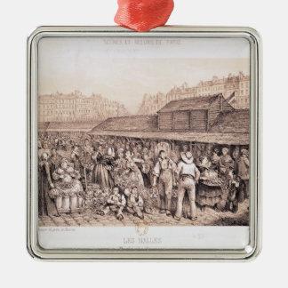 Les Halles, 1855 Square Metal Christmas Ornament