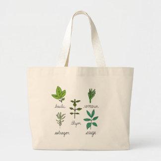 Les herbes large tote bag