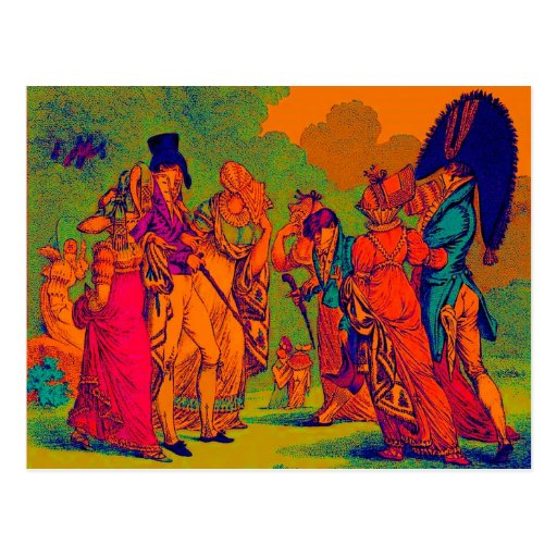 les invisibles 1810 fashion cartoon postcard