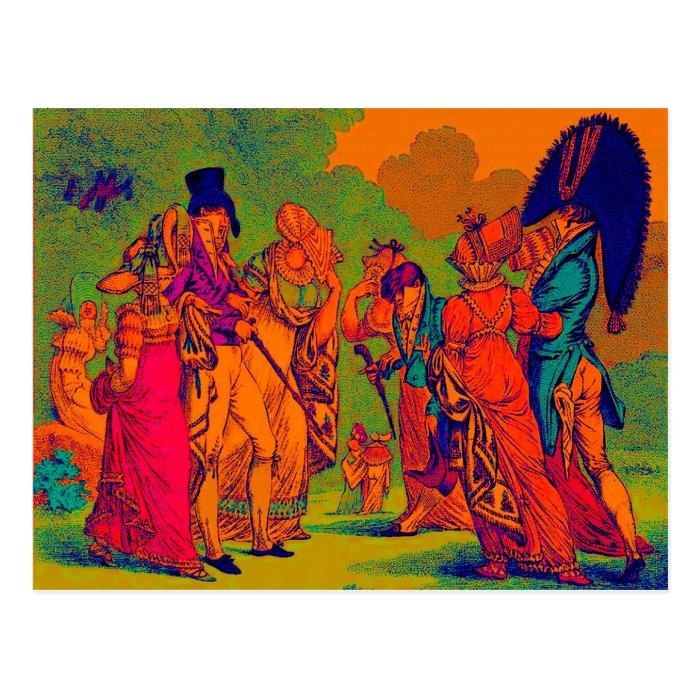 les invisibles 1810 fashion cartoon postcard