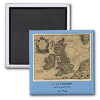 Les Isles Britanniques, 1700's Map 2 Inch Square Magnet