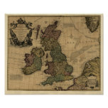 Les Isles Britanniques, 1700's Map - Customized Poster