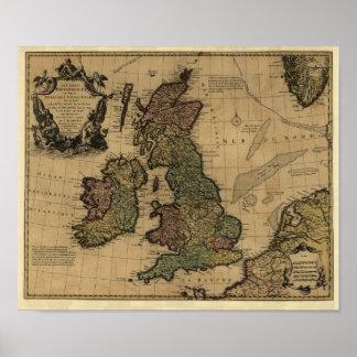 Les Isles Britanniques, 1700's Map - Customized Poster