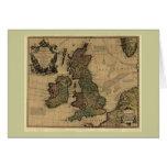 Les Isles Britanniques, 1700's Map Greeting Card