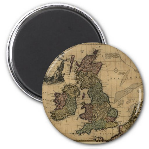Les Isles Britanniques, 1700's Map Refrigerator Magnet