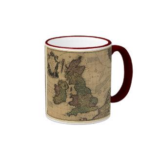 Les Isles Britanniques, 1700's Map Ringer Coffee Mug