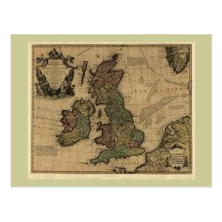 Les Isles Britanniques, 1700's Map Postcard