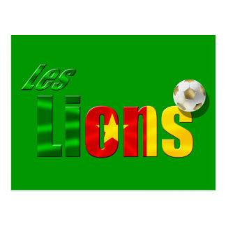 Les Lions Cameroon flag soccer ball logo Postcard