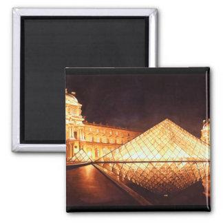 """""""Les Lumieres du Louvre"""" Watercolor Art 2 Inch Square Magnet"""