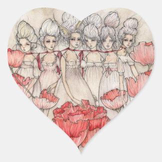 Les Merveilleuses Pegatina En Forma De Corazón