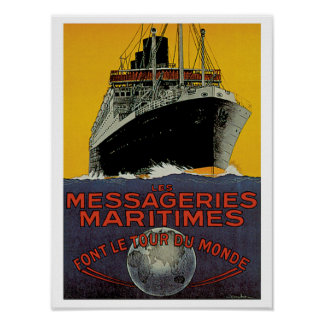 Les Messageries Maritimes Poster