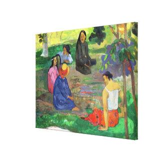Les Parau Parau, o conversación, 1891 Impresiones En Lienzo Estiradas