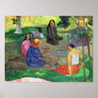 Les Parau Parau, o conversación, 1891 Póster