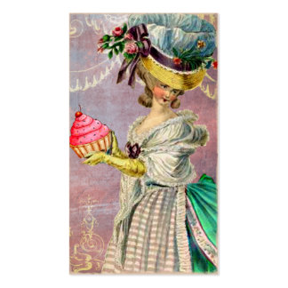 Les Petits Gateaux Marie Antoinette Cupcake & Bird Double-Sided Standard Business Cards (Pack Of 100)