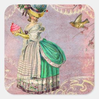 Les Petits Gateaux Marie Antoinette Cupcake Square Sticker