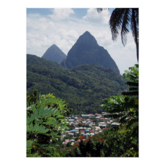 Les Pitons, St Lucia Poster
