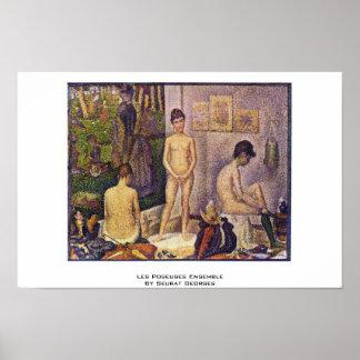 Les Poseuses Ensemble By Seurat Georges Poster