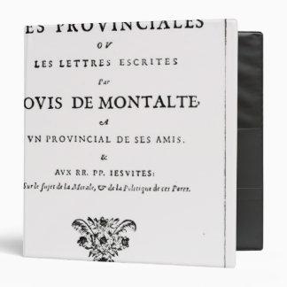 """Les Provinciales de Blaise Pascal Carpeta 1 1/2"""""""