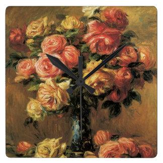 Les Roses dans un Vase by Renoir Square Wall Clock