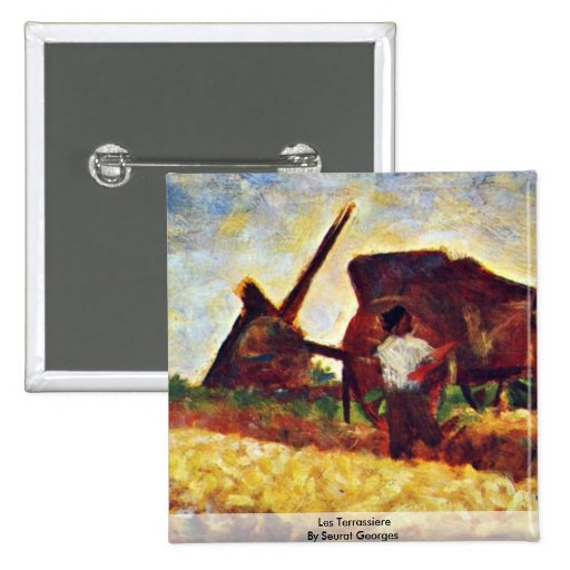 Les Terrassiere By Seurat Georges 2 Inch Square Button