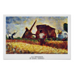Les Terrassiere By Seurat Georges Poster