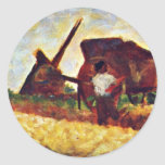 Les Terrassiere By Seurat Georges Round Sticker