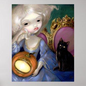 Les Vampires: Lanterne-Citrouille ART PRINT cat print