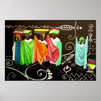 Les Vendeuses de Tissus Haitienne Poster