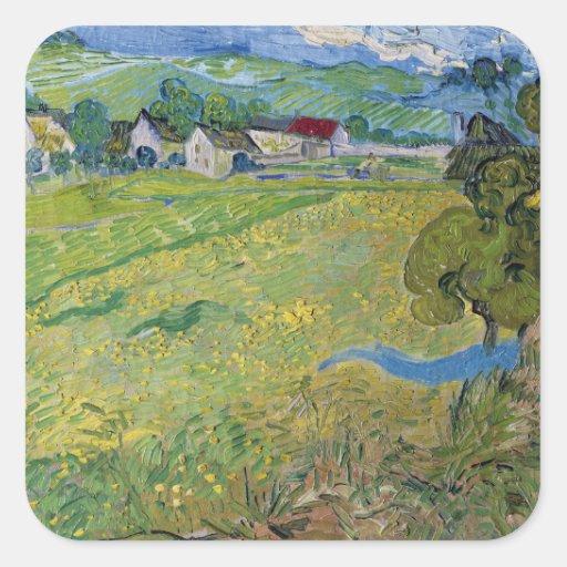 Les Vessenots à Auvers, Vincent Van Gogh Square Stickers