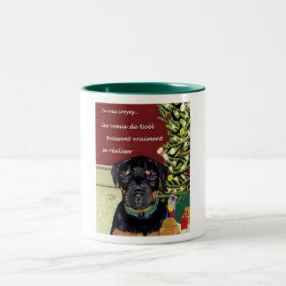 Les voeux de Noel grande tasse Two-Tone Coffee Mug