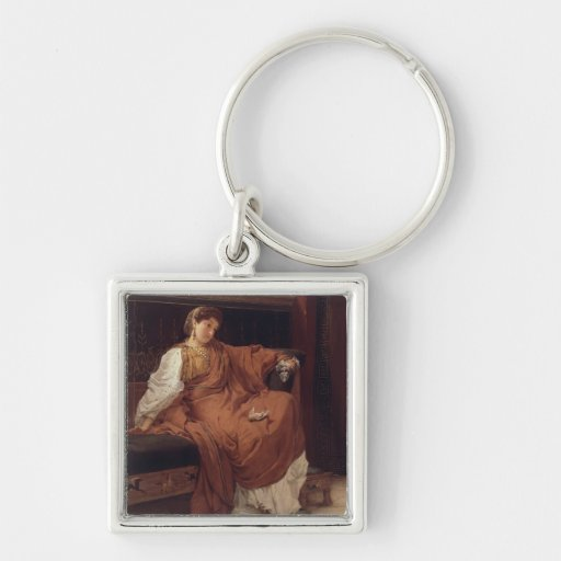 Lesbia Weeping over a Sparrow, 1866 (oil on panel) Silver-Colored Square Keychain