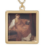 Lesbia Weeping over a Sparrow, 1866 (oil on panel) Square Pendant Necklace