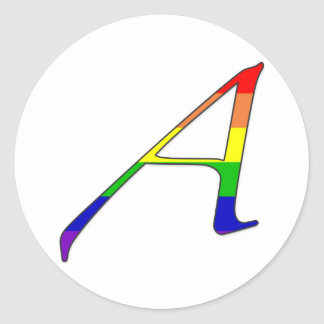 """Lesbian and Gay Pride """"Scarlet"""" Letter A Classic Round Sticker"""