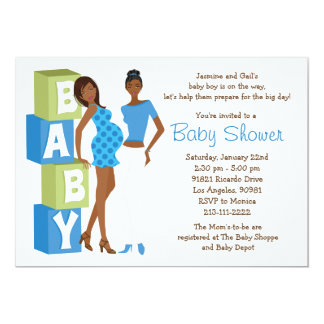 Lesbian Baby Shower Invitation for Boy