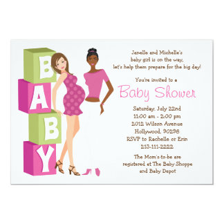 Lesbian Baby Shower Invitation for Girl