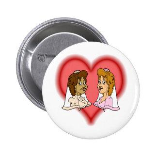 Lesbian Bi-Racial Couple Pinback Button