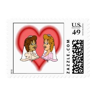 Lesbian Bi-Racial Couple Postage