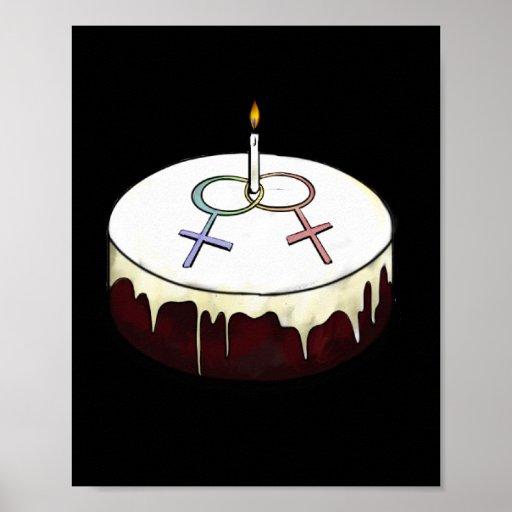 Birthday Cake Posters Art Prints : Lesbian Birthday Cake Poster Zazzle