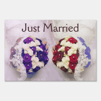 Lesbian Bouquet Brides Yard Sign Just Married Gay