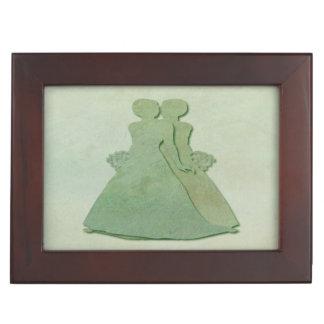 Lesbian Brides Keepsake Box - Mint Green Rustic