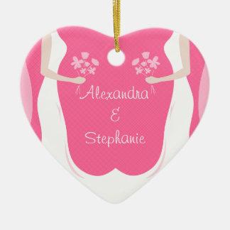 Lesbian Brides Personalized Ceramic Ornament