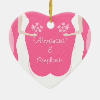 Lesbian Brides Personalized Double-Sided Heart Ceramic Christmas Ornament