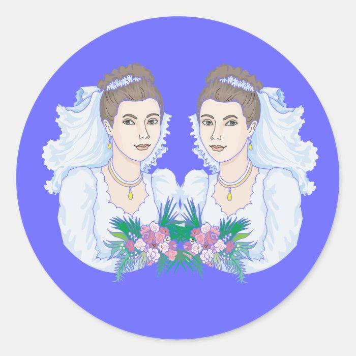 Lesbian Brides Wedding Classic Round Sticker