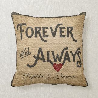 Lesbian Burlap Forever Always Heart Personalized Pillow