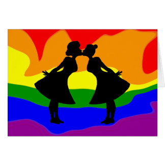 Lesbian Couple Silhouette Birthday Greeting Card