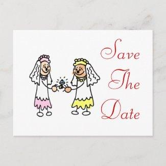 Lesbian Cute Brides postcard
